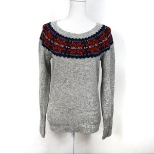 T827 American Eagle Fair Isle Wool Sweater Size L